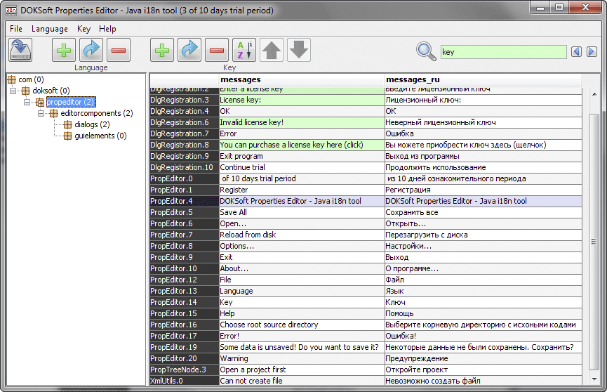Properties Editor is a tool for Java products internationalization